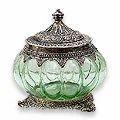 pretty pumpkin glass jewelry case