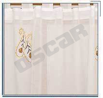 Peach Embroidered Curtain