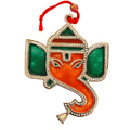 magnificient ganesha white metal hangings