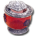 ruby red white metal jewelry box